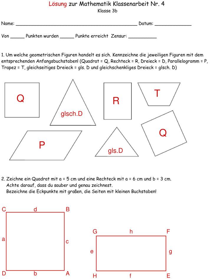 klassenarbeit zu geometrie