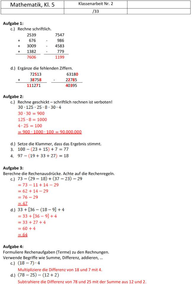 Arbeitsblatt Vorschule textaufgaben 4 klasse photographie : Klassenarbeit zu Natu00fcrliche Zahlen