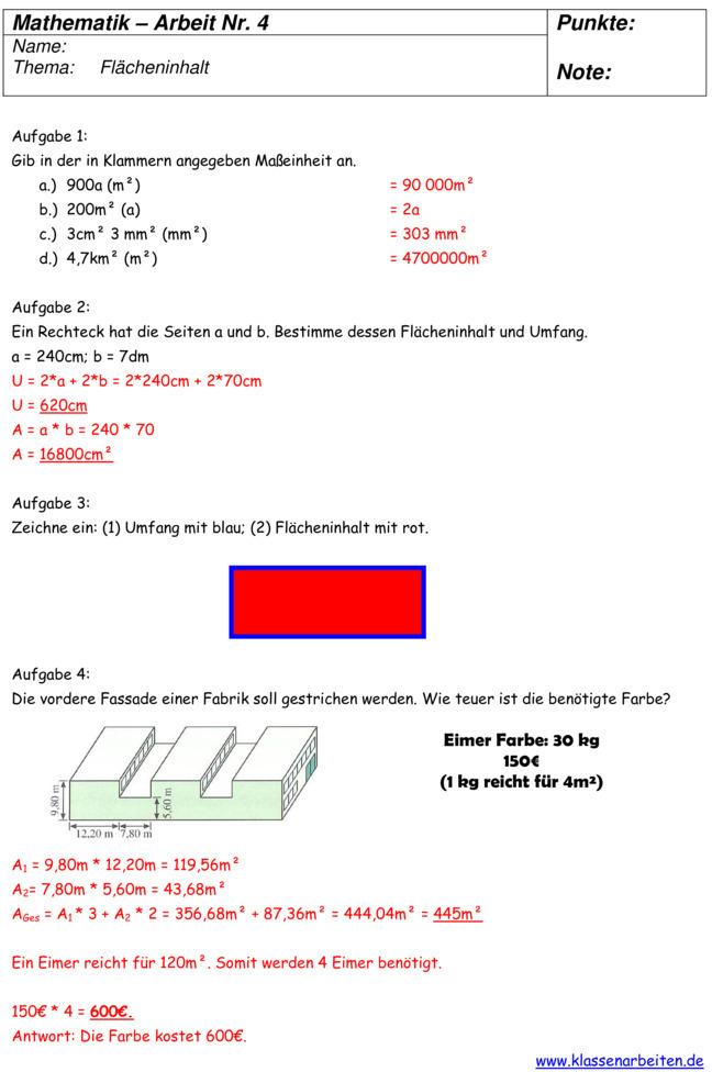 Klassenarbeit zu Umfang- Volumen- und Flächenberechnung