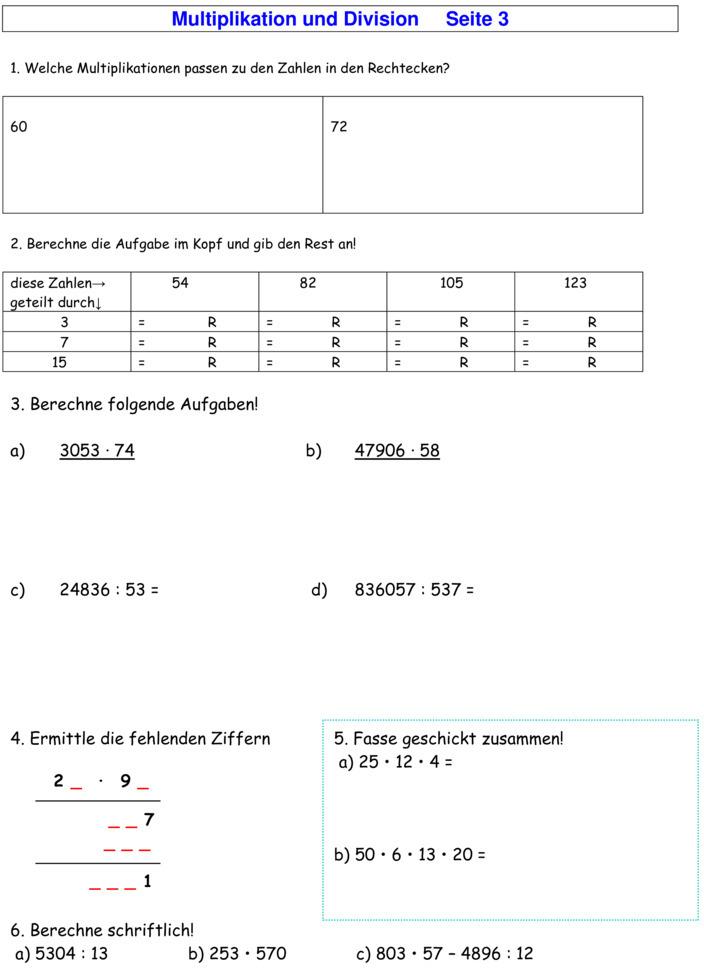 arbeitsblatt vorschule 187 mathearbeiten klasse 4 ziehung