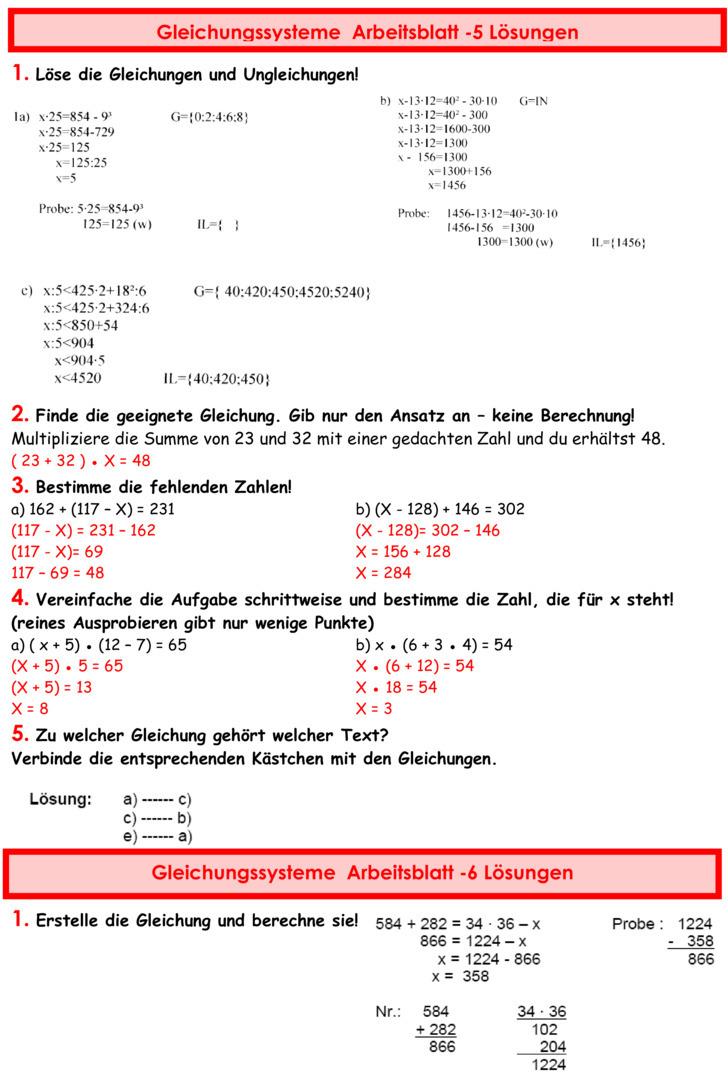 220bungsblatt zu gleichungen und terme