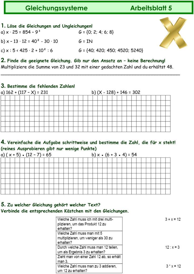 Arbeitsblatt Mathe Terme Und Gleichungen : Übungsblatt zu gleichungen und terme