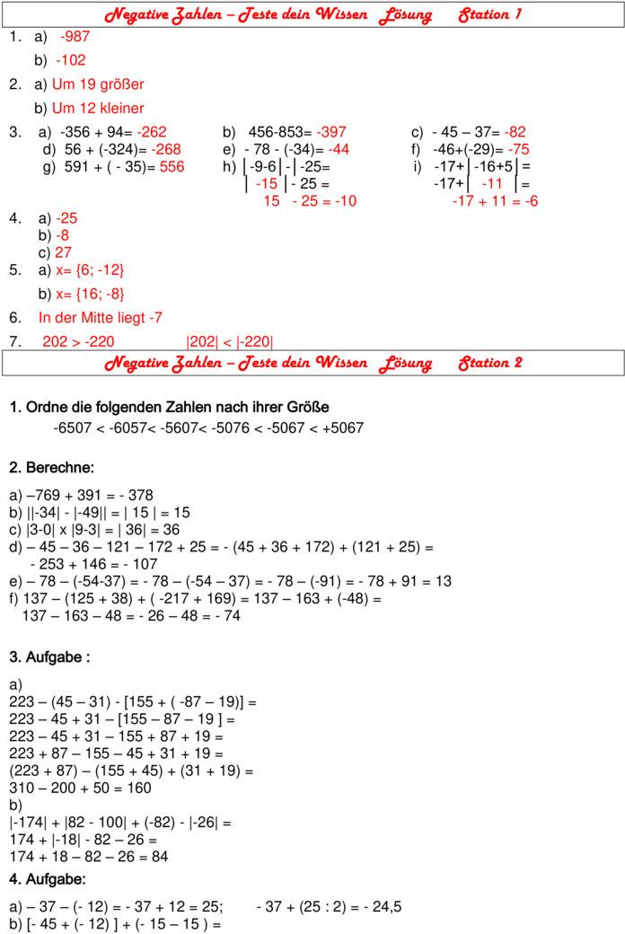 Arbeitsblatt Vorschule textaufgaben 4 klasse photographie : u00dcbungsblatt zu Ganze Zahlen