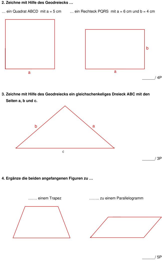 Klassenarbeit zu geometrie for Stabiles dreieck grundschule
