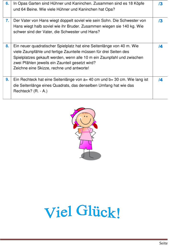 umfang und fl228che grundschule klasse 4 mathematik
